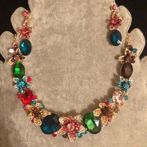 Fashion Crystal necklace with Earrings